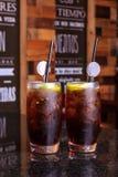 Cocktail des Gin Tonic-Sodas geschmückt durch Zitronenscheibe stockbild