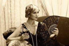 Cocktail di anni '20 di seppia Fotografie Stock