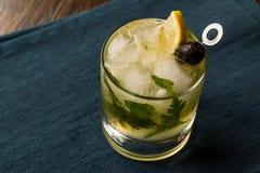 Cocktail di Dillionaire con aneto, gin, prezzemolo, il limone, l'oliva ed il ghiaccio tritato Fotografie Stock