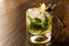 Cocktail di Dillionaire con aneto, gin, prezzemolo, il limone, l'oliva ed il ghiaccio tritato Immagine Stock Libera da Diritti