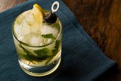 Cocktail di Dillionaire con aneto, gin, prezzemolo, il limone, l'oliva ed il ghiaccio tritato Fotografie Stock Libere da Diritti