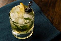 Cocktail di Dillionaire con aneto, gin, prezzemolo, il limone, l'oliva ed il ghiaccio tritato Immagini Stock