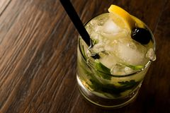 Cocktail di Dillionaire con aneto, gin, prezzemolo, il limone, l'oliva ed il ghiaccio tritato Fotografia Stock Libera da Diritti