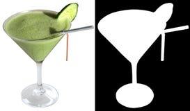 Cocktail di Fitnes con il cetriolo, aneto, yogurt, spinaci, decorati con una fetta di cetriolo Immagine Stock