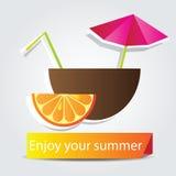 Cocktail di frutta arancio Fotografia Stock