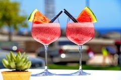 Cocktail di frutta con l'anguria Fotografie Stock Libere da Diritti