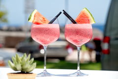 Cocktail di frutta con l'anguria Fotografia Stock Libera da Diritti