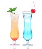 Cocktail di MAI tai della margarita dell'alcool e tè ghiacciato hawaian blu Fotografia Stock