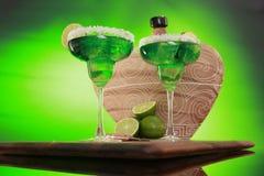 Cocktail di Margarita su verde Fotografie Stock