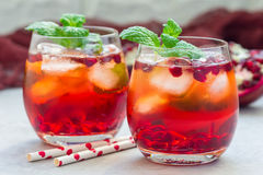 Cocktail di Mojito con il melograno, la menta, il succo di limone ed il ghiaccio, orizzontale Fotografia Stock Libera da Diritti