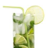 Cocktail di Mojito con paglia Fotografia Stock Libera da Diritti