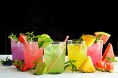 Cocktail di Mojito di parecchi sapori tropicali Fotografie Stock