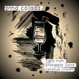 Cocktail di Pina Colada nello stile di lerciume Fotografie Stock
