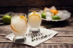 Cocktail di rinfresco con il limone sulla tavola Fotografia Stock Libera da Diritti
