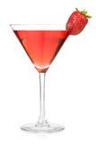 Cocktail do álcool da morango no vidro de martini Fotos de Stock