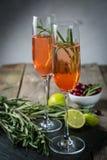 Cocktail do champanhe do arando e dos alecrins Fotos de Stock