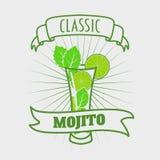 Cocktail do clássico de Mojito Ilustração do vetor da bebida fresca e salgado Imagens de Stock