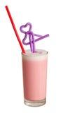 Cocktail do leite em um vidro com palha Foto de Stock Royalty Free