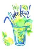 Cocktail do mojito da aquarela, fim de semana das palavras olá! Ilustração pintado à mão do verão Partido, bebidas ilustração do vetor