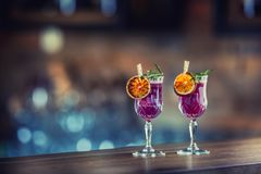 Cocktail drink. Alcoholic cocktail drink on bar counter in pub o. R restaurant Royalty Free Stock Image