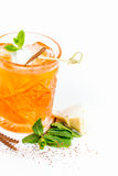 Cocktail drink with cinnamon ice cream and mint. Royalty Free Stock Photo