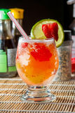 Cocktail drink cup. Cocktail alcoholic drink with fruits Royalty Free Stock Photos