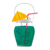 Cocktail drink decorated with umbrella and ice cubes Royalty Free Stock Photo