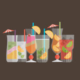 Cocktail drink fruit juice in flat design style. Retro style hol. Iday cocktails. Set of alcoholic cocktails Stock Images