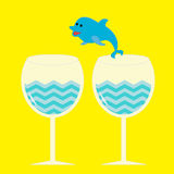 Cocktail drink glasses and jumping dolphin. Vector illustration Stock Photography