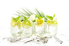 Cocktail drink lime lemon mint ice Bar tools. Cocktail drink with lime, lemon, mint and ice. Bar tools and decoration on white background Royalty Free Stock Photography