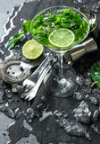 Cocktail drink with lime, mint,ice. Bar accessories Stock Images