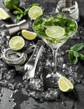 Cocktail drink with lime, mint, ice. Bar tolls ingredients Royalty Free Stock Image