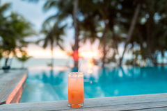 Cocktail drink on tropical beach Royalty Free Stock Photography