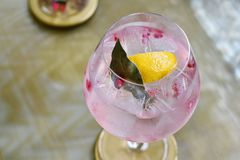 Cocktail drinks, Colorful pink alcohol beverage. Stock Images