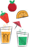 Cocktail Drinks and Fruit Children's Illustrations Stock Image
