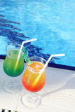 Cocktail Drinks Poolside Stock Image