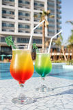 Cocktail Drinks Poolside Royalty Free Stock Photography