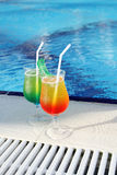Cocktail Drinks Poolside Stock Photography