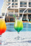 Cocktail Drinks Poolside Stock Photo