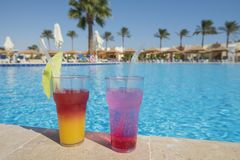 Cocktail drinks by a swimming pool. Two cocktail drinks by a tropical resort swimming pool Stock Image
