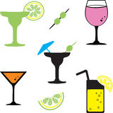 Cocktail drinks. Vector set of different alcohol cocktails Stock Photo