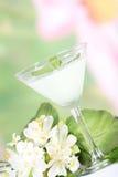 Cocktail e flores Fotografia de Stock