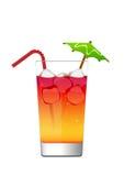 Cocktail in einem Glas mit Eis und Regenschirm lizenzfreie abbildung
