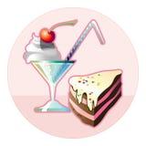 Cocktail en cake Royalty-vrije Stock Afbeeldingen