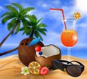 Cocktail esotico della noce di cocco Fotografie Stock