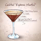 Cocktail Espresso Martini. Consisting of vodka, coffee liqueur and coffee Stock Image