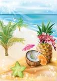 Cocktail exótico em uma praia tropical do verão ilustração royalty free