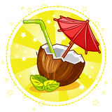 Cocktail exotique de noix de coco illustration de vecteur
