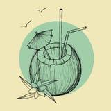 Cocktail exotique de noix de coco Illustration de croquis de vecteur illustration libre de droits