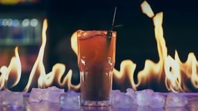 Cocktail in fire on a bar.  stock video footage